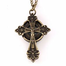 Antique Brass Tone Jesus Celtic Cross Necklace Round Pocket Watch Pendant