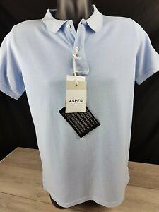 Aspesi Polo T Shirt Mens Blue Top Short Sleeve Size Small Cotton RRP £90 A762-5