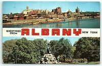 VTG Postcard New York NY Greetings Albany Large Letter 1958 Stamp Cancel A5