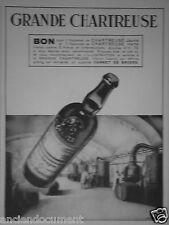 PUBLICITÉ 1935 LA GRANDE CHARTREUSE BON POUR 1 FLACONNET JAUNE ET VERTE