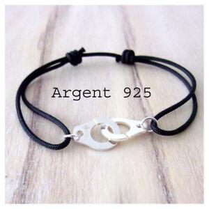 Bracelet Menotte Homme, Femme en Argent 925 et Cordon Noir réglable