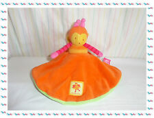 C - Doudou Semi Plat Rond Orange Vert Double Abeille / Papillon Moulin Roty
