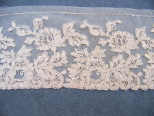 ANCIENNE  DENTELLE TULLE BRODE TONS MIEL - D 27