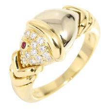 Auth BVLGARI 18K Y/W Gold Ruby Diamond Naturalia Ring US5.5 EU51 Women G1208