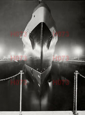 """Two 8"""" x 6"""" photos - Cunard Queen Mary in dry dock at night, Southampton, 1936"""