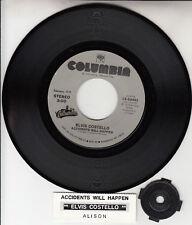 """ELVIS COSTELLO  Accidents Will Happen & Alison 7"""" 45 record NEW + juke box strip"""