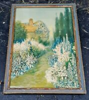 ANTIQUE ART DECO WOOD FRAMED COUNTRY COTTAGE AMONGST FLOWERS AND TREES PRINT