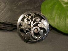 Schöne 835 Silber Brosche Rund Handarbeit Blume Blüte Floral Jugendstil Art Deco