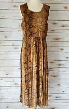 Vtg Maxi Dress L Brown Snake Print Crinkle Rayon Beaded Sleeveless Boho Artsy