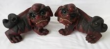 Pr. Antique Chinese Carved Wooden Foo Dogs with Glass Eyes