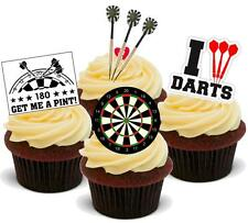 NOVELTY DARTS MIX 12 STANDUP Edible Cake Topper Birthday Male Dartboard Dad