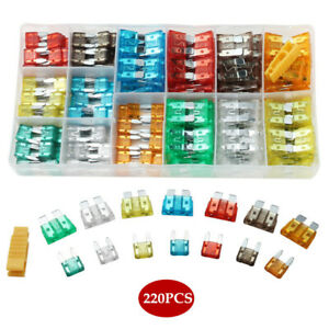 220pcs/Box Car Blade Fuse Box Assortment Fuses For Truck RV SUV Boat Motorcycle