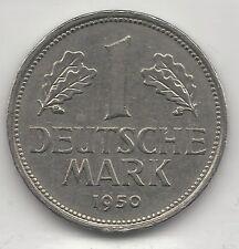GERMANY, WEST, 1950-J, 1 MARK, COPPER NICKEL,  KM#110, CHOICE A.U.