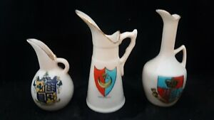 3 MINT ANTIQUE CRESTED CHINA 3 PORCELAIN PITCHER JUGS VARIOUS MAKES AND CRESTS