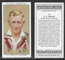 PLAYER'S 1934 CRICKETERS J.C.WHITE Card No 33 of 50 CRICKET CIGARETTE CARD