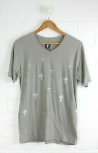BRAVE By WAYNE COOPER Mens Grey T-Shirt with Crosses to Front Size S