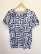 Topman Top Medium T Shirt Short Sleeve Blue White Geometric Pattern Cotton M5