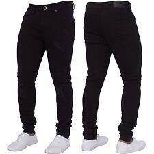 New ENZO Mens Skinny Super Stretch Fit Ripped Denim Jeans All Waist Blue Black