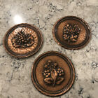 Vintage 3 EMBOSSED COPPER Grapes & Flowers WALL HANGING SCONCE PLAQUE Round