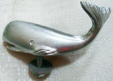 "Topper hood ornament Small Sperm Whale sanded aluminum finish 4"" long metal USA"