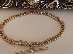 """Antique 9ct Gold Curb Link T Bar Bracelet 7.5"""" Solid Hallmarked 375 Dog Clip"""
