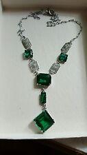FILIGREE Vintage Art Deco Emerald STERLING SILVER NECKLACE