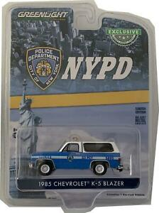 NYPD 1985 Chevrolet K-5 Blazer in blue / white 1:64 scale model from Greenlight