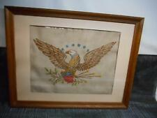 Antique Folk Art American Bald Eagle Needlepoint Wall Hanging Decor Old Vtg