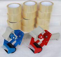 2x Abroller 12 x Rollen Klebeband Packband Paketband Band 66M Lang 48MM Breit