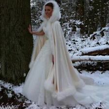 Winter Cape Bridal Shrug Wedding Jacket Long White Cloak Wraps Hooded Wraps