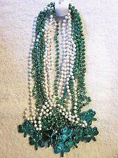 "1 Doz (12) St. Patrick'S Shamrock Necklaces Green & White 33"" Beads Irish (B359)"