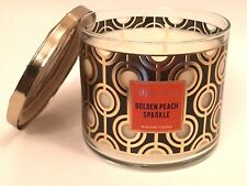 BATH & BODY WORKS GOLDEN PEACH SPARKLE SCENTED 3-WICK LARGE 14.5 FILLED CANDLE