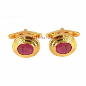Natural Ruby Gemstone With 925 Sterling Silver Gold Plated Cufflinks For Men's