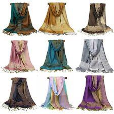 Border Paisley Pashmina Scarf Women Festive ~ Long Shawl Wrap Reversible