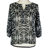 Cotton On Top Womens Size Small Black White Sheer Print 3/4 Sleeves Popover