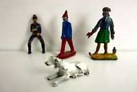 4 antike Zinnfiguren handbemalt  Zinnsoldaten mit Hund Reiter Sammlerstücke