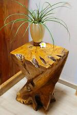 43cm Massivholz Beistelltisch Teak Wurzelholz Nachttisch Podest Edelholz Tisch