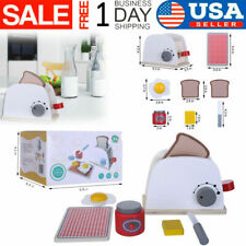 Wooden Pop-up Toaster Kids Toy Pretend Play Kitchen Set with Accessories Toy