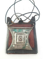 Tuareg Silver on Leather Gris Gris hand engraved amulet pendant leather cord