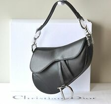 AUTH CHRISTIAN DIOR SADDLE BAG BLACK LEATHER SILVER CD LOGO HANDBAG NEW RECEIPT