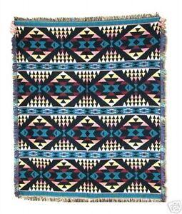 Large 4x5' Woven Blanket Sofa Throw Jacquard Cotton Reversible Diamond Design