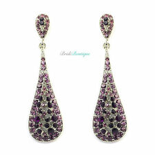 Purple & Amethyst Crystal Diamante Teardrop Dangle Dangly Long Drop Earrings