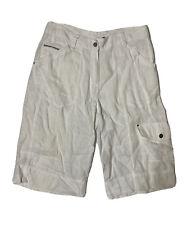 Chico's Women Size 0 (Meas 30x13) White Bermuda Cargo Shorts Linen