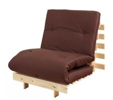 Single Futon Sofa Bed Pine Seat Guest Sleepover Party Folding Chair Mattress
