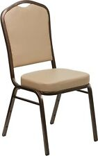 Crown Back Stacking Banquet Chair in Tan Vinyl with Copper Vein Frame