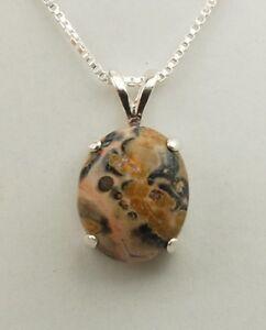 Leopard Skin Jasper Oval Cabochon Pendant / Necklace - Sterling Silver