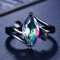 Mystic Marquise Cut Rainbow Fire Topaz Ring 10KT Black Gold Filled Band Size5-12