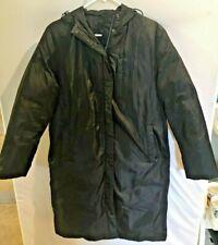 Calvin Klein Womens Black Down Filled Long Coat Jacket Parka Hood Small S  cr2