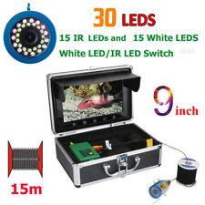 "9""15M 1000Tvl Fish Finder Underwater Fishing Camera 15pcs White Leds+15pc Ir Led"