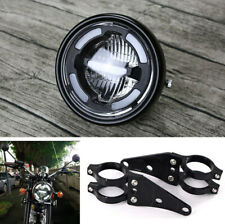 Motorcycle White LED Hi/Lo Beam Headlight DRL Light With 2x 41mm CNC Fork Holder